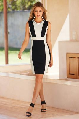 Beyond travel™ colorblock grommet dress