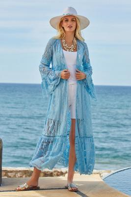 boho lace flare-sleeve duster