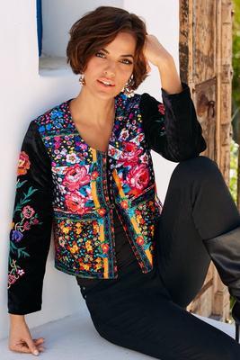 Embroidered velvet flower jacket