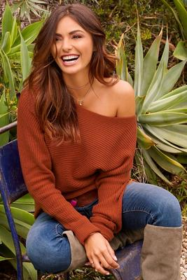 Boat neck slouchy sweater