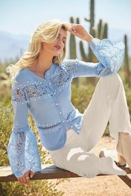 Display product reviews for Pearl and lace embellished cardigan