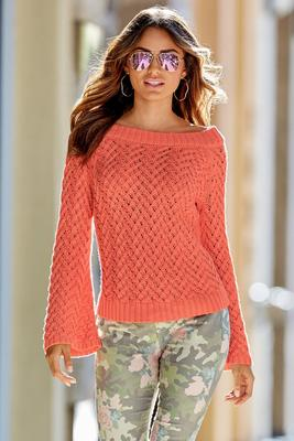Basket weave off-the-shoulder sweater