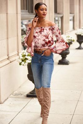 floral burnout off-the-shoulder top