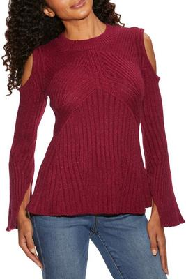 Cold shoulder ribbed detail A line sweater