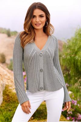 Big button bell sleeve cardigan