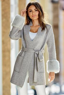 faux fur cuff wrap sweater coat
