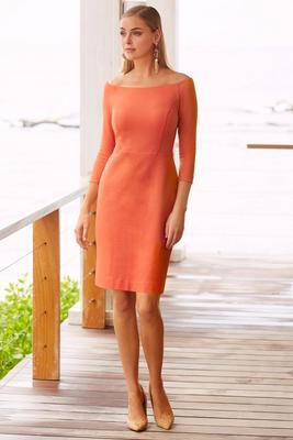 Off-the-shoulder three-quarter sleeve sheath dress