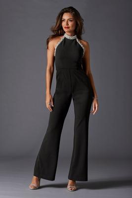 Display product reviews for Pearl trim choker jumpsuit