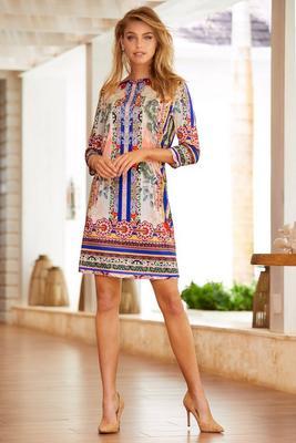 Border print shift dress