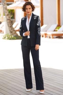 Display product reviews for Pinstripe embroidered blazer