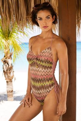 Chevron print one piece swimsuit