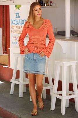 Embellished hem denim skirt