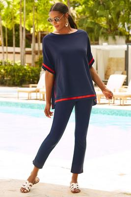 Beyond travel™ colorblock trim tunic top