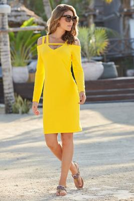 Beyond travel™ Cold Shoulder Strap Keyhole Long Sleeve Above the Knee Dress
