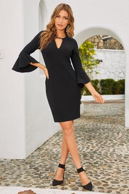 Beyond travel™ keyhole flare sleeve dress