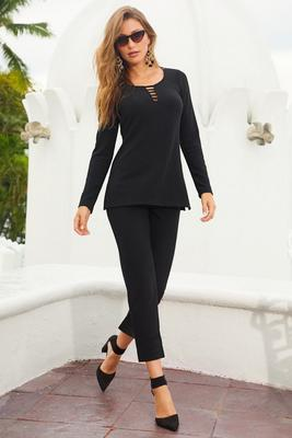 beyond travel™ neck detail long sleeve top