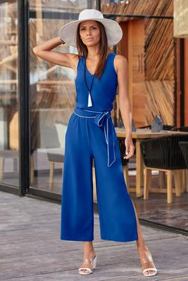 Display product reviews for Beyond travel™ tie cropped jumpsuit