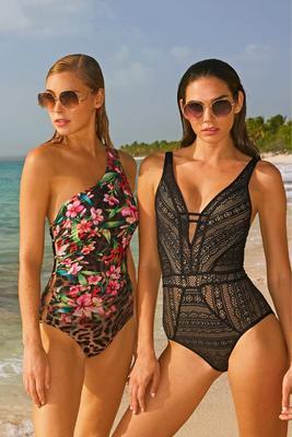 One shoulder leopard floral one piece swimsuit