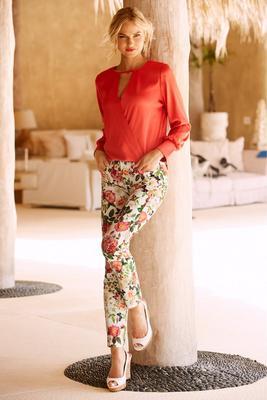 Keyhole surplice charm blouse
