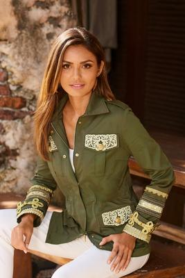 Gold embellished utility jacket