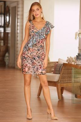 Pastel floral scuba dress