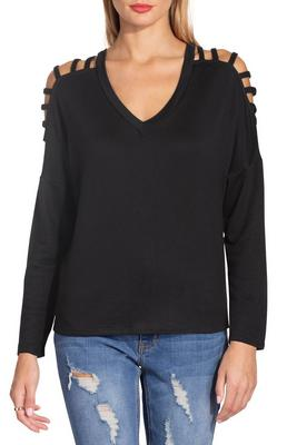 V neck strappy long sleeve top