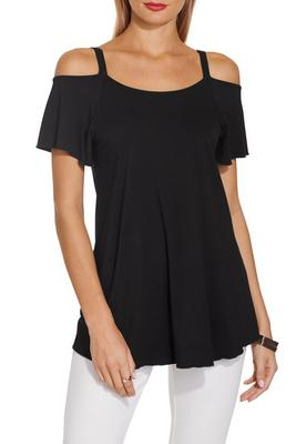 Cold shoulder flutter sleeve tee