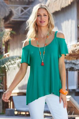 Beyond Basics Cold-Shoulder Flutter-Sleeve Tee