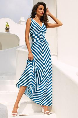 Ruched v neck stripe maxi dress
