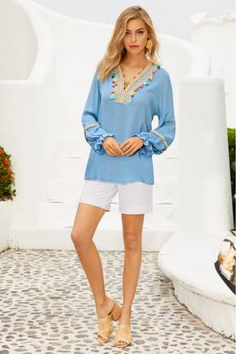 Tassel v neck top