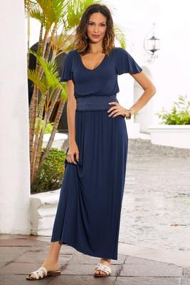 V neck smocked maxi dress