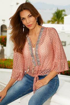 Embellished lace tie front top