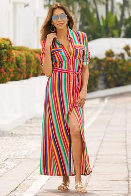 Rainbow stripe shirtdress