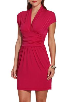 Cap sleeve deep v dress