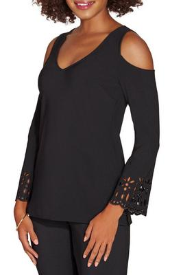 Display product reviews for Beyond travel™ cold shoulder laser cut top