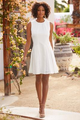 Eyelet pleated dress