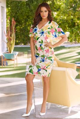 Floral surplice print dress