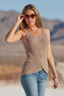 Knot front v neck sweater tank top