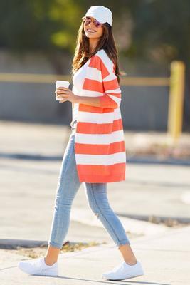 Long sleeve stripe must have cardigan