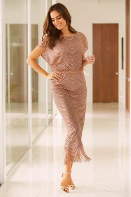 Metallic blouson maxi dress