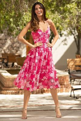 Mix floral fit and flare dress