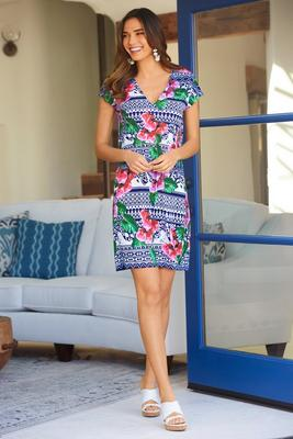orchid print v neck dress