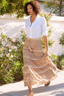 Display product reviews for Embellished crochet maxi skirt