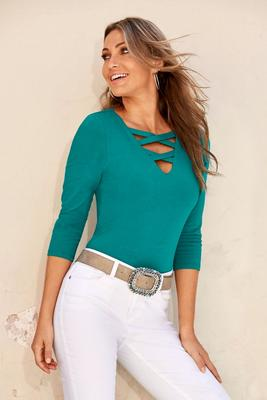 So Sexy™ neck detail three quarter sleeve top