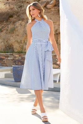 Striped keyhole flare dress