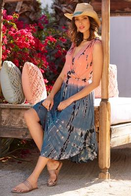Tie dyed v neck dress