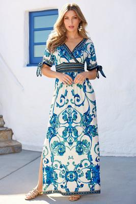 Tie sleeve scroll maxi dress