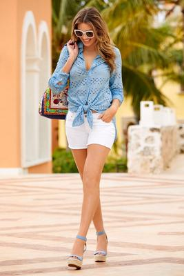 Eyelet button up shirt