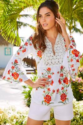 Floral embroidered linen peasant top