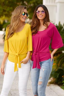 Drape tie front scoop neck top